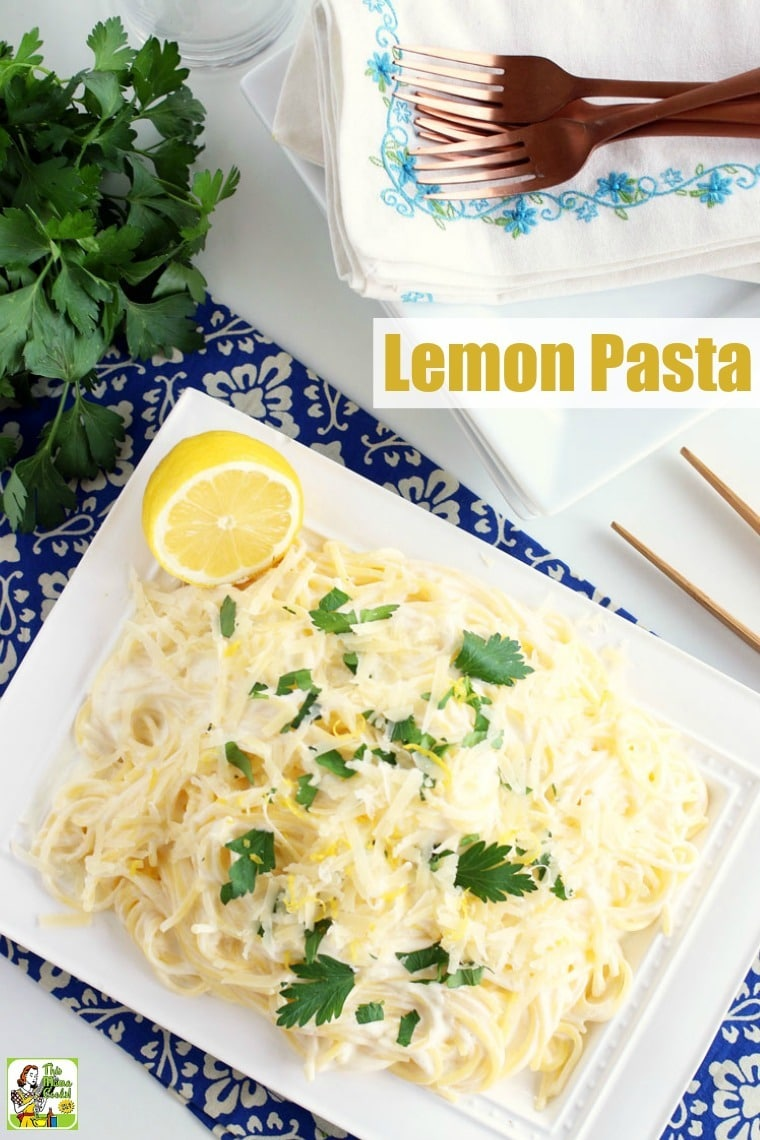 Lemon Pasta Recipe is a delightful pairing of creamy sauce, pasta, and bright lemon flavor that makes a perfect weeknight meal. Easy to adapt for vegan and gluten-free diets. #recipes #easy #recipeoftheday #glutenfree #easyrecipe #easyrecipes #glutenfreerecipes #dinner #easydinner #dinnerrecipes #dinnerideas #pasta #lemon
