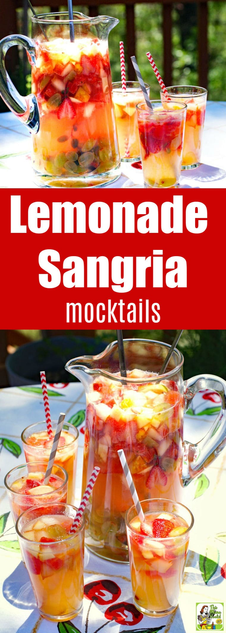 Serve up a pitcher of Lemonade Sangria mocktails at your next party. This non-alcoholic sangria is a better-for-you alternative to beer or wine. It's a mock sangria recipe that's a combination of fruit, lemonade and limeade juices, and sparkling apple juice. #mocktails #drinks #drinking #recipes #recipe #fruit #nonalcoholic #juice #lemonade #sangria