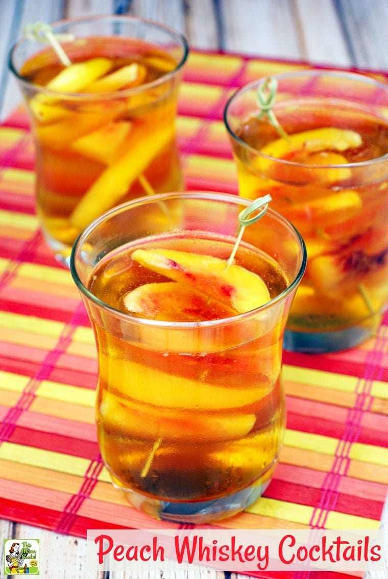 Wondering what to mix with whiskey? Try peaches! This unique peach whiskey cocktail recipe uses peach flavored whiskey, frozen peaches, peach bitters, and seltzer. #cocktails #cocktailrecipes #drinks #peach #alcohol #whiskey #drinking
