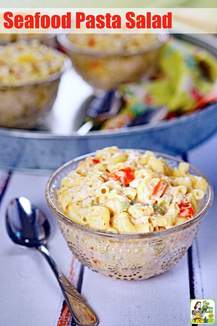 This Seafood Pasta Salad is the perfect side dish to bring to a picnic or backyard barbecue. Using baby shrimp, this seafood pasta salad recipe is seasoned with dill, seafood seasoning blend, and lite mayonnaise. It can be made with gluten free or whole wheat macaroni, too! #recipes #easy #recipeoftheday #glutenfree #easyrecipe #easyrecipes #glutenfreerecipes #partyfood #salad #saladrecipes #shrimp #pasta