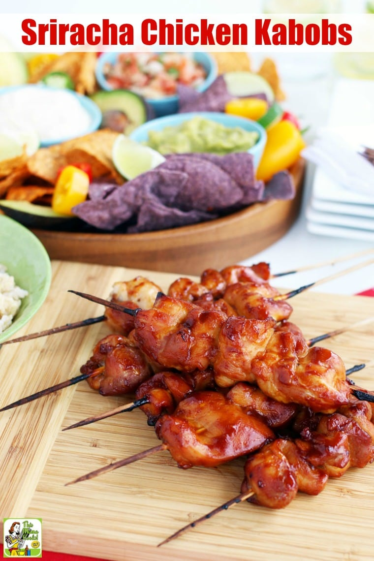 Sriracha Chicken Kabobs are easy to make on the grill or in the oven. Using chicken thighs, this chicken skewers recipe is tender and juicy with a little sweet and spicy kick. Naturally gluten-free. Makes an easy weeknight dinner or party appetizer. #recipeoftheday #glutenfree #easyrecipe #easyrecipes #glutenfreerecipes #dinner #easydinner #dinnerrecipes #dinnerideas #chicken #chickenfoodrecipes #chickenrecipes #appetizers #appetizerseasy #grill #grilling #grillrecipes #grillingrecipes
