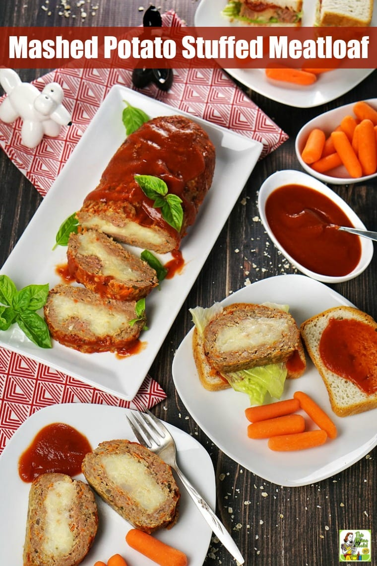 Plates and platters of mashed potato stuffed meatloaf