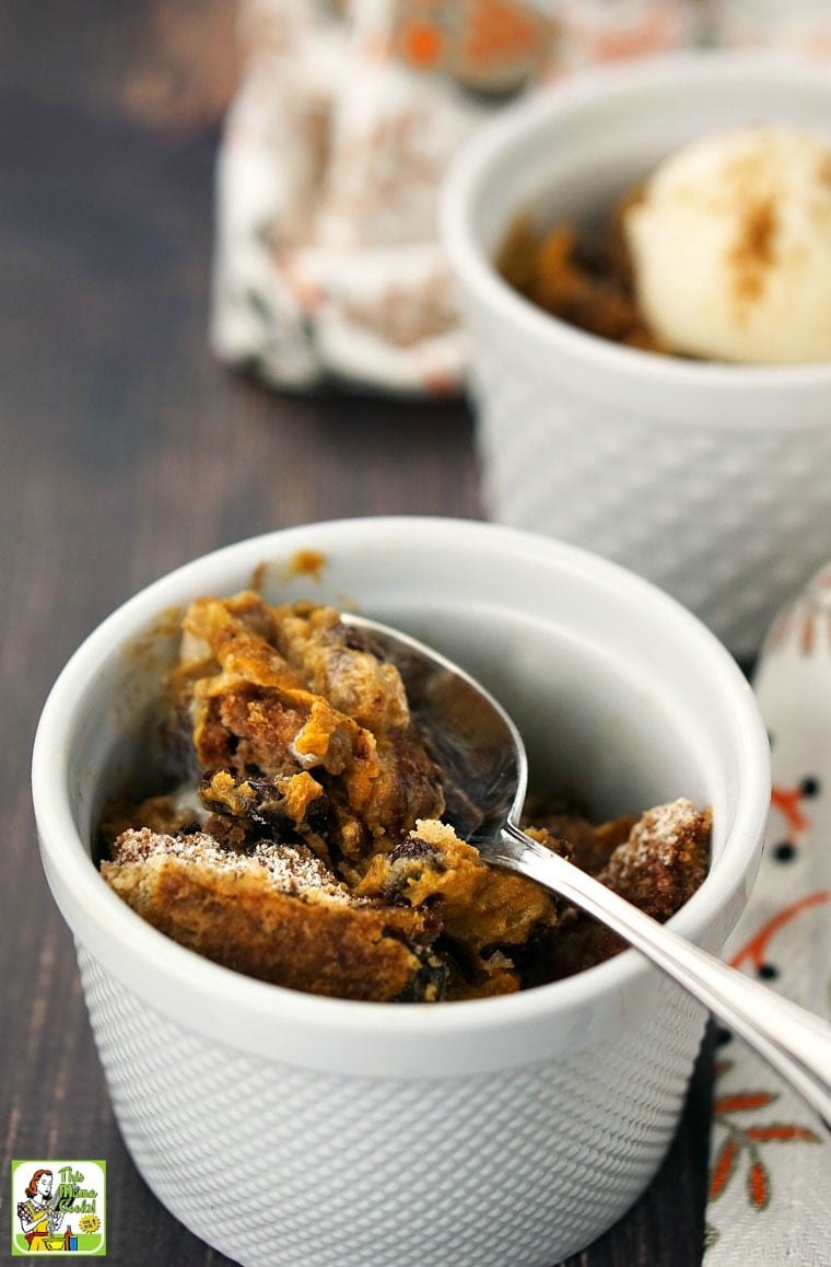 Close up of crock-pot pumpkin dump cake in a bowl