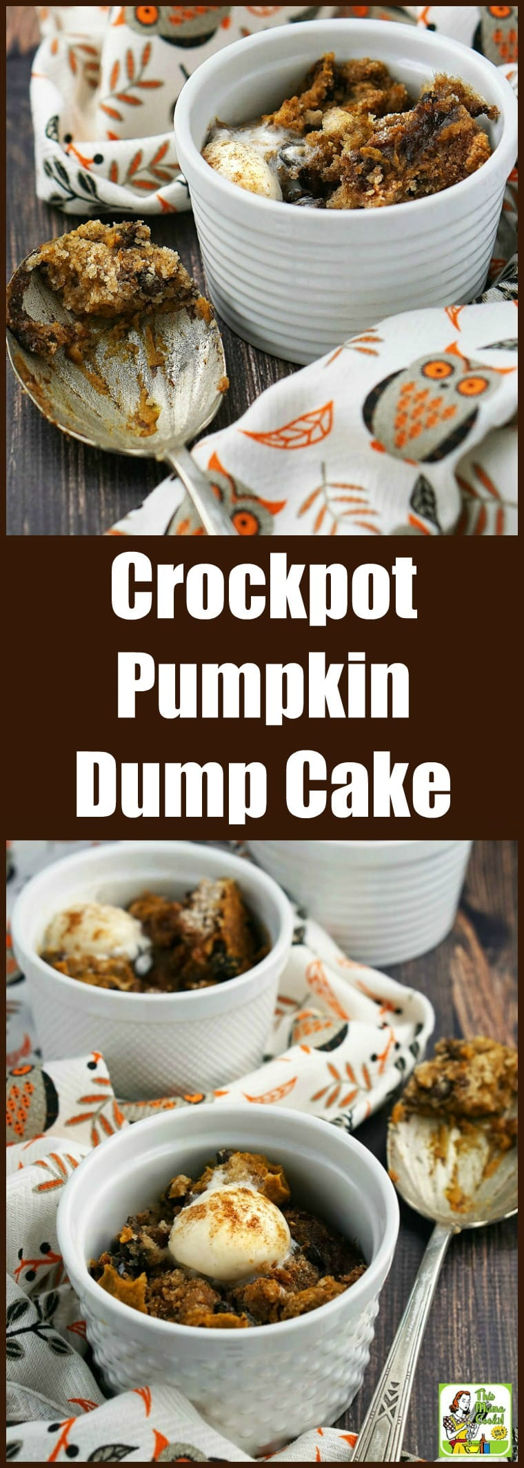 This Crockpot Pumpkin Dump Cake is like a layer of creamy pumpkin mousse topped by a layer of gluten-free spice cake. Quick and easy to make, this slow cooker pumpkin dump cake is gluten-free, dairy-free, and vegan! #recipe #easy #recipeoftheday #healthyrecipes #glutenfree #easyrecipes #pumpkindessert #pumpkinrecipe #pumpkin #halloween #thanksgiving #dessert #dessertrecipes #slowcooker #crockpot #vegan #veganfood #veganrecipes #dumpcake