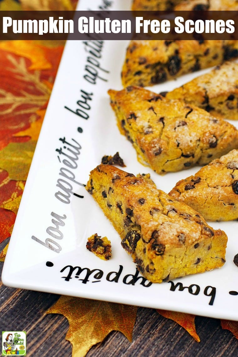 This Pumpkin Gluten Free Scones recipe is dairy-free and low in sugar. These easy gluten-free scones also contain chocolate chips and raisins. Perfect for Thanksgiving breakfast or brunch. Comes with a vegan option. #recipes #easy #recipeoftheday #glutenfree #easyrecipe #easyrecipes #glutenfreerecipes #dairyfree #pumpkindessert #pumpkinrecipe #pumpkin #pumpkinspice #baking #sugarfree #veganfood #vegan #veganrecipes #vegandesserts