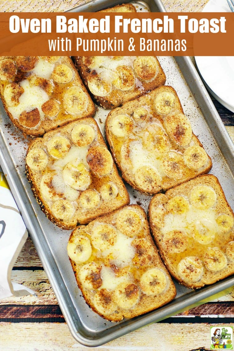 This Oven Baked French Toast with Pumpkin & Bananas is a terrific gluten-free breakfast recipe. This oven-baked French toast recipe is made extra special with chocolate milk, pumpkin puree, and bananas. #recipes #easy #recipeoftheday #glutenfree #easyrecipe #easyrecipes #glutenfreerecipes #breakfast #brunch #frenchtoast #dairyfree #pumpkinrecipe #pumpkin #pumpkinspice