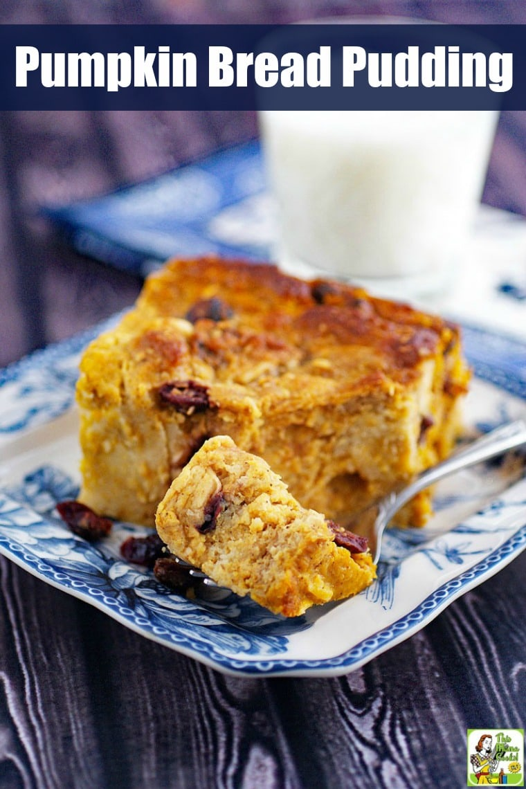 This Pumpkin Bread Pudding with cranberries and coconut can be made gluten-free and dairy-free. Make a dish of this easy pumpkin bread pudding recipe for a Halloween or Thanksgiving dessert, breakfast or brunch. #recipe #easy #recipeoftheday #healthyrecipes #glutenfree #easyrecipes #dessert #dairyfree #pumpkin #cranberry #coconut #thanksgiving #breadpudding #pumpkindessert #pumpkinrecipe #pumpkinspice #halloween