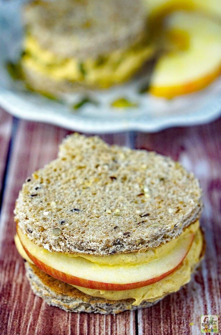 Closeup of cream cheese pumpkin spread sandwich