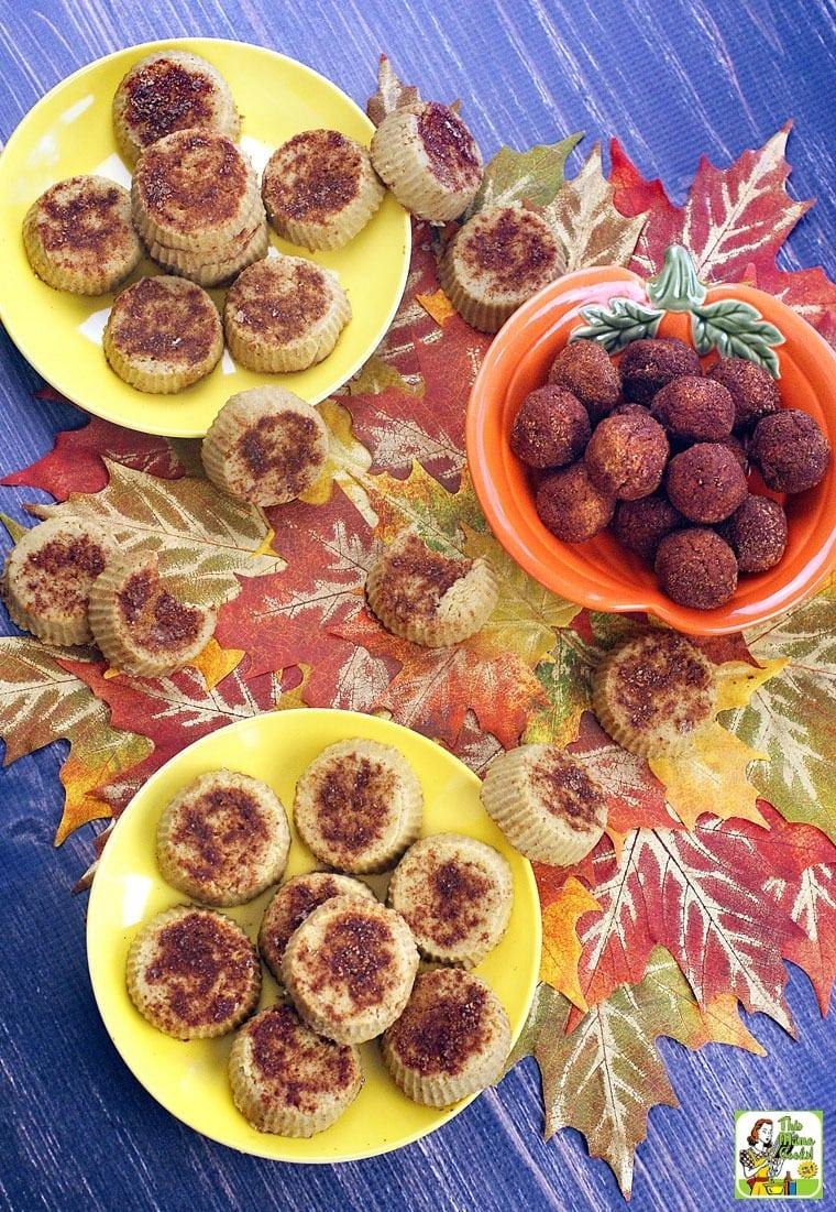Plates, dishes and bowls of dairy free pumpkin fudge balls and vegan fudge mini pies