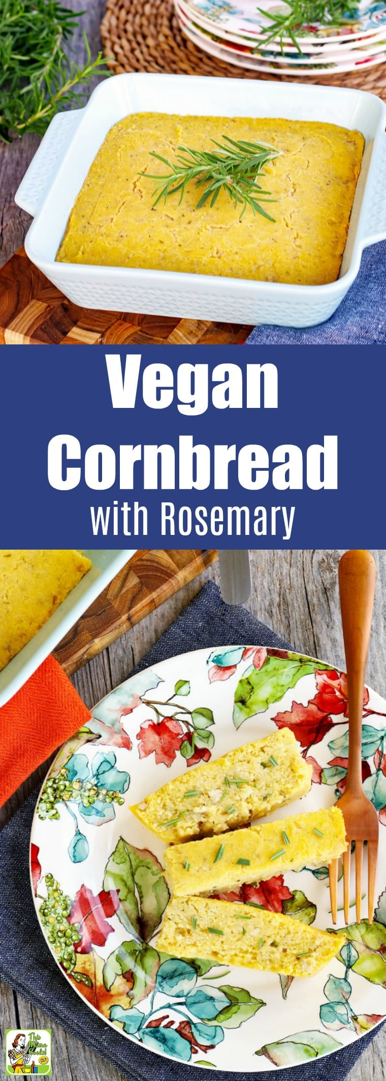 Vegan cornbread with rosemary is perfect for Thanksgiving and making stuffing. You\'ll love gluten-free cornbread for cookouts, too. #recipes #easy #recipeoftheday #glutenfree #easyrecipe #easyrecipes #glutenfreerecipes #baking #thanksgiving #Thanksgivingrecipes #veganfood #vegan #veganrecipes #dairyfree #eggfree #sidedish
