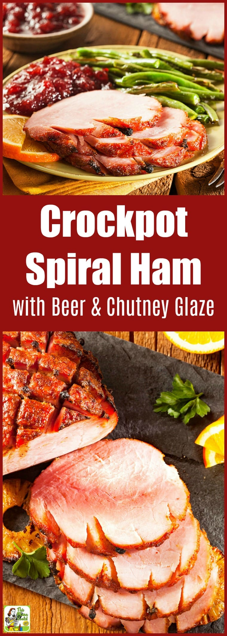 Try this Crockpot Spiral Ham with Beer and Chutney Glaze for the holidays. Making a slow cooker ham recipe is a great way to free up your oven during big cooking holidays like Easter, Thanksgiving, and Christmas. This easy dinner recipe is naturally gluten free and makes plenty of leftovers. #ham #slowcooker #slowcookerrecipes #crockpot #crockpotrecipes