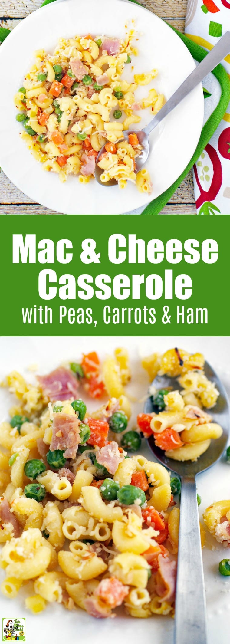Make this mac & cheese casserole with peas, carrots & ham for dinner. This easy baked mac and cheese takes 30 minutes to make. #glutenfree #glutenfreerecipes #dinner #easydinner #dinnerrecipes #macaroni #macandcheese #pasta #pastafoodrecipes #pastarecipes #casserole #casserolerecipes #30minutemeals