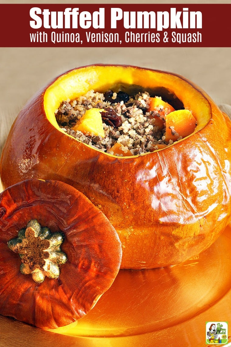 Quinoa Stuffed Pumpkin with Venison, Cherries & Squash aims to be a show-stopping recipe on your holiday table. This stuff pumpkin recipe can be made with other ground meat (beef, turkey, or bison) or turned into a vegetarian or vegan Thanksgiving dinner. #recipes #easy #recipeoftheday #glutenfree #easyrecipe #easyrecipes #glutenfreerecipes #dinner #easydinner #dinnerrecipes #dinnerideas #Thanksgiving #pumpkin #venison #cherries