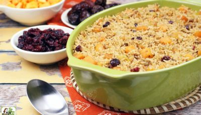 Vegan Rice Stuffing with Cranberries, Squash & Dates