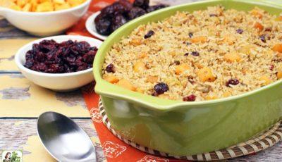 Vegan Rice Stuffing with Cranberries, Squash & Dates