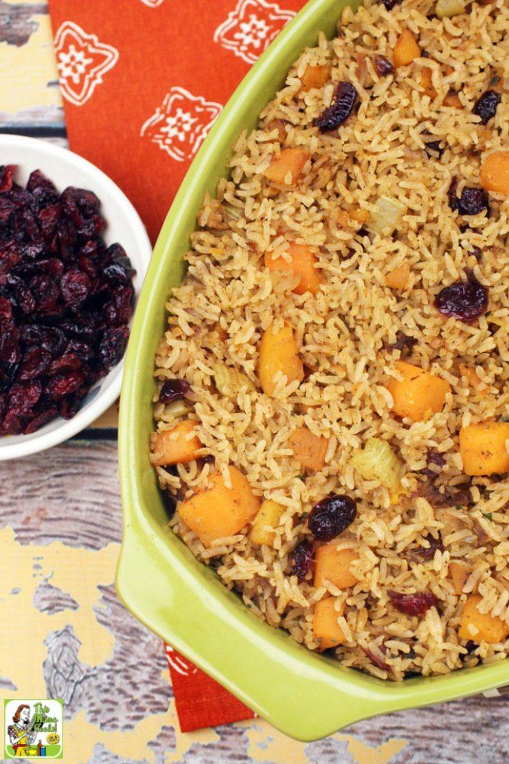 Green casserole dish of Thanksgiving vegan rice stuffing