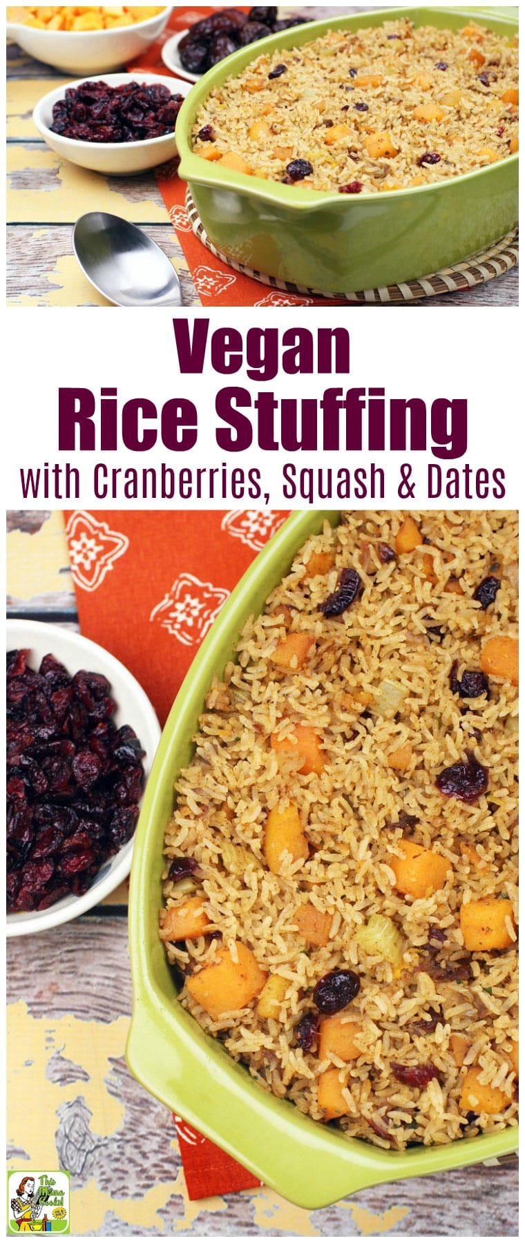This vegan rice stuffing is cooked with cranberries, butternut squash, and dates. This vegan, gluten-free stuffing is made with jasmine rice. #recipes #easy #recipeoftheday #glutenfree #easyrecipe #easyrecipes #glutenfreerecipes #thanksgiving #thanksgivingrecipes #veganfood #vegan #veganrecipes #rice #dairyfree #squash #cranberry #cranberries #stuffing #dates #vegetarian #vegetarianrecipes