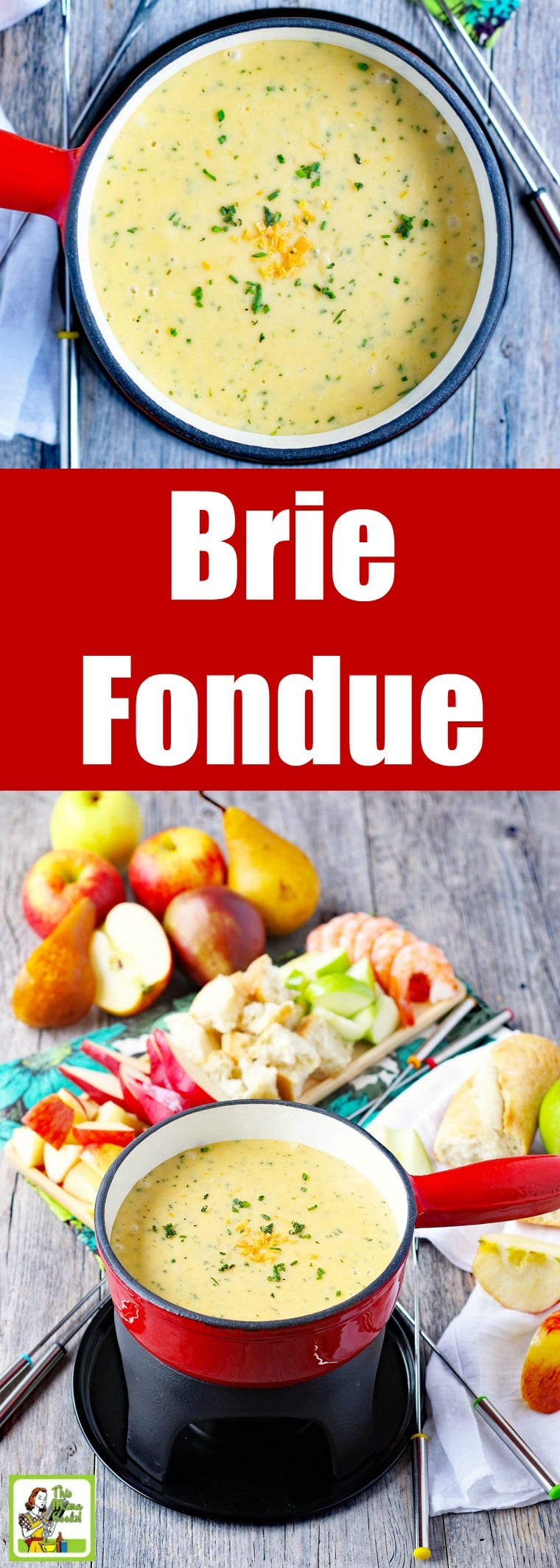 Make a pot of Brie & Chive Fondue for your next party or a romantic dinner. This brie fondue recipe is made with grapefruit juice instead of wine. Serve with cheese fondue dippers like apple and pear slices, bread, vegetables like asparagus, cherry tomatoes, and zucchini slices, and cooked shrimp. #fondue #cheese #partyfood #appetizers #appetizerrecipes