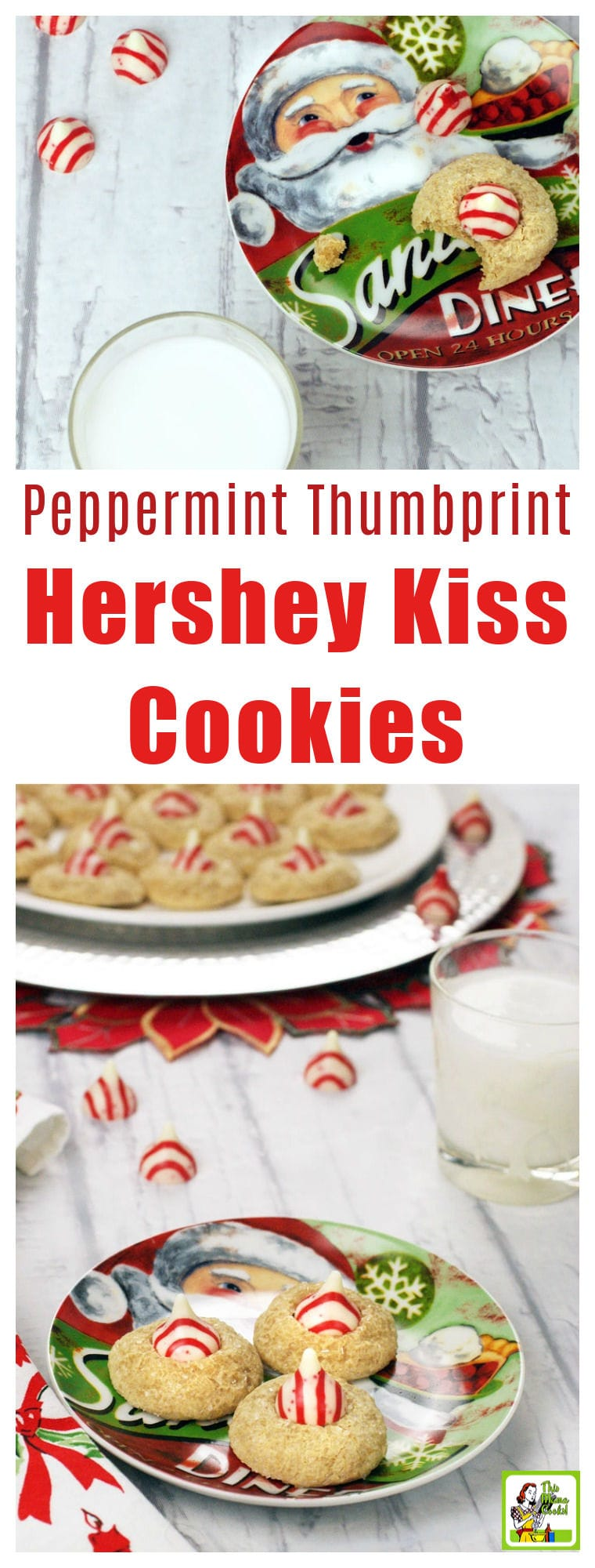 These Peppermint Thumbprint Hershey Kiss Cookies are buttery and soft. Hershey Kiss sugar cookies are gluten free and easy to make for holiday cookie swaps. This thumbprint cookies with Hershey Kisses recipe comes with dairy free substitutions. These cookies with Hershey kiss inside can be made in 40 minutes or less. #glutenfree #glutenfreerecipes #cookies #baking #sugarcookies #holidaybaking #dairyfree