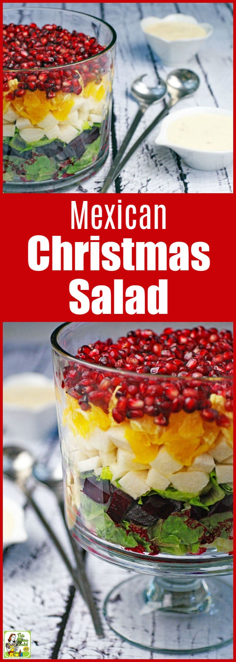 Learn how to make a Mexican Christmas Salad in a trifle bowl. This traditional Christmas Eve salad recipe is easy to make and healthy. It also makes a festive center piece for your holiday table. A vegetarian side dish that can be made vegan. #salad #saladrecipes #mexicanfoodrecipes #mexicanfood #christmas #healthyrecipes #healthyfood