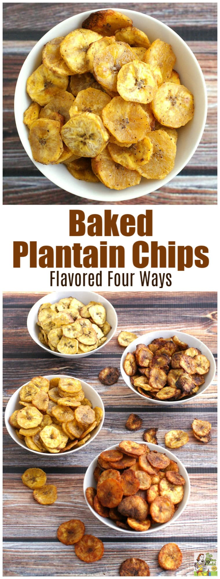 Looking for a wholesome party snack? Try this Baked Plantain Chip recipe that's flavored four ways - sweet or savory. Not only is it a delicious, healthy snack recipe, it\'s gluten free, vegetarian, vegan, and paleo! #recipe #glutenfree #vegan #appetizers #snack #paleo #recipe #savory #healthysnacks