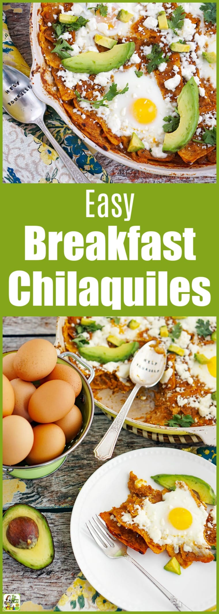 If you love Mexican food, you'll love this Breakfast Chilaquiles Recipe. Make it in an oven safe skillet for easy cleanup. Naturally gluten-free. #recipe #breakfast #mexicanfood #mexicanrecipes #avocado #skillet #eggs #glutenfree