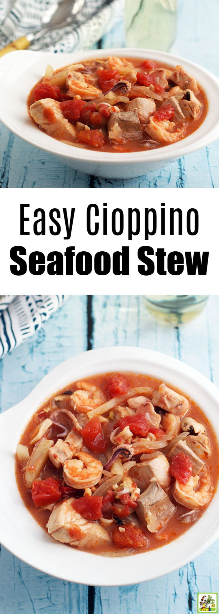 Need a fish stew recipe? Try this easy cioppino seafood stew recipe. This Italian seafood stew uses fish, shrimp, and a frozen seafood mix. #cioppino #cioppinorecipe #fish #stew #seafood #seafoodrecipe #shrimp #soup #italian #fishsoup #glutenfree #keto