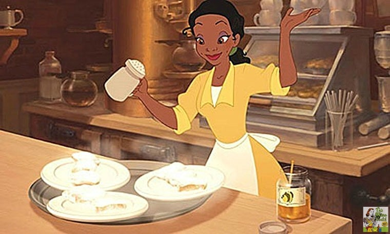 Tiana making her beignets recipe in a scene from the Disney movie Princess and the Frog