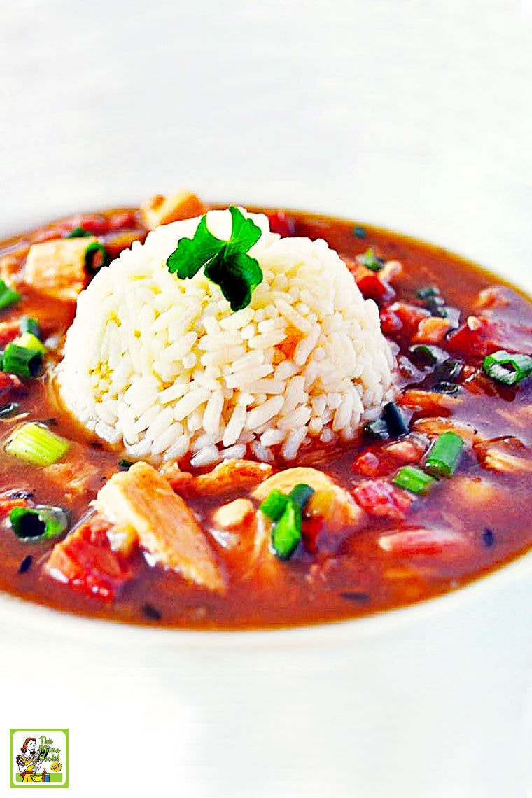 Hot bowl of Chicken and Sausage Gumbo served on brown rice.