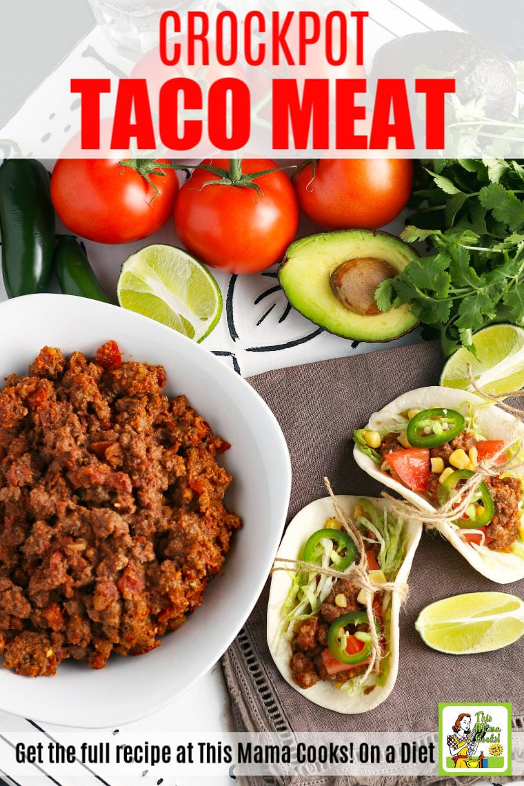 Making Crockpot Taco Meat means dinner is a breeze. That's because everyone loves crockpot tacos whether it's Taco Tuesday or you're having guests over for a party. This 3-ingredient slow cooker taco meat recipe takes only 3 hours to make. #recipes #slowcooker #crockpot #tacos #tacotuesday #cincodemayo #groundmeat #groundbeef