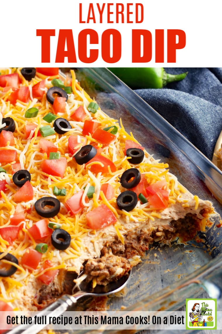 Make layered taco dip for parties, potlucks and Cinco de Mayo. Serve this party dip appetizer with your favorite tortilla chips.