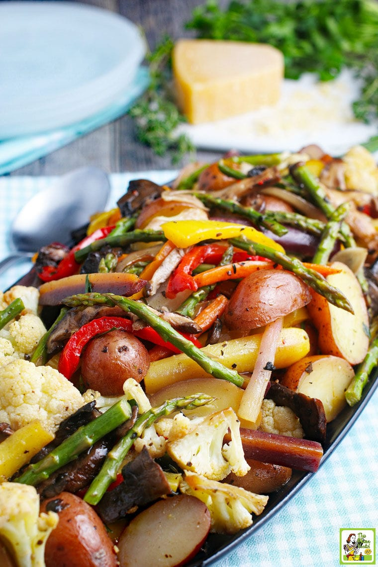 Closeup of a platter of roasted vegetables.