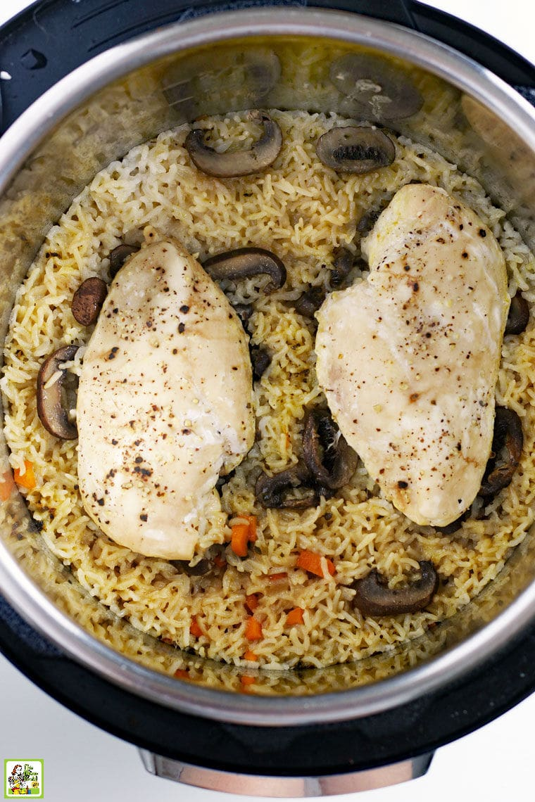 Chicken breasts, mushrooms and rice cooking in an instant pot pressure cooker