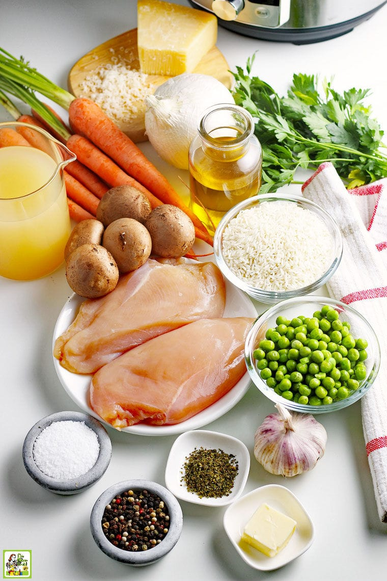 Ingredients for making an Instant Pot Chicken and Rice Recipe
