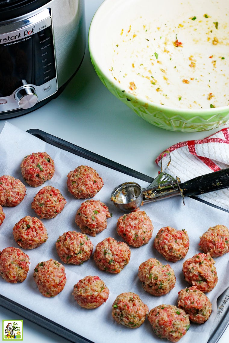 Making pressure cooker meatballs with an ice cream scoop.