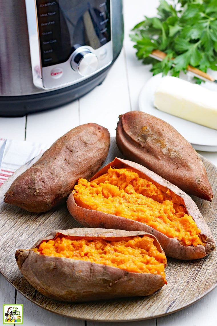 Cooked sweet potatoes and an Instant Pot pressure cooker.