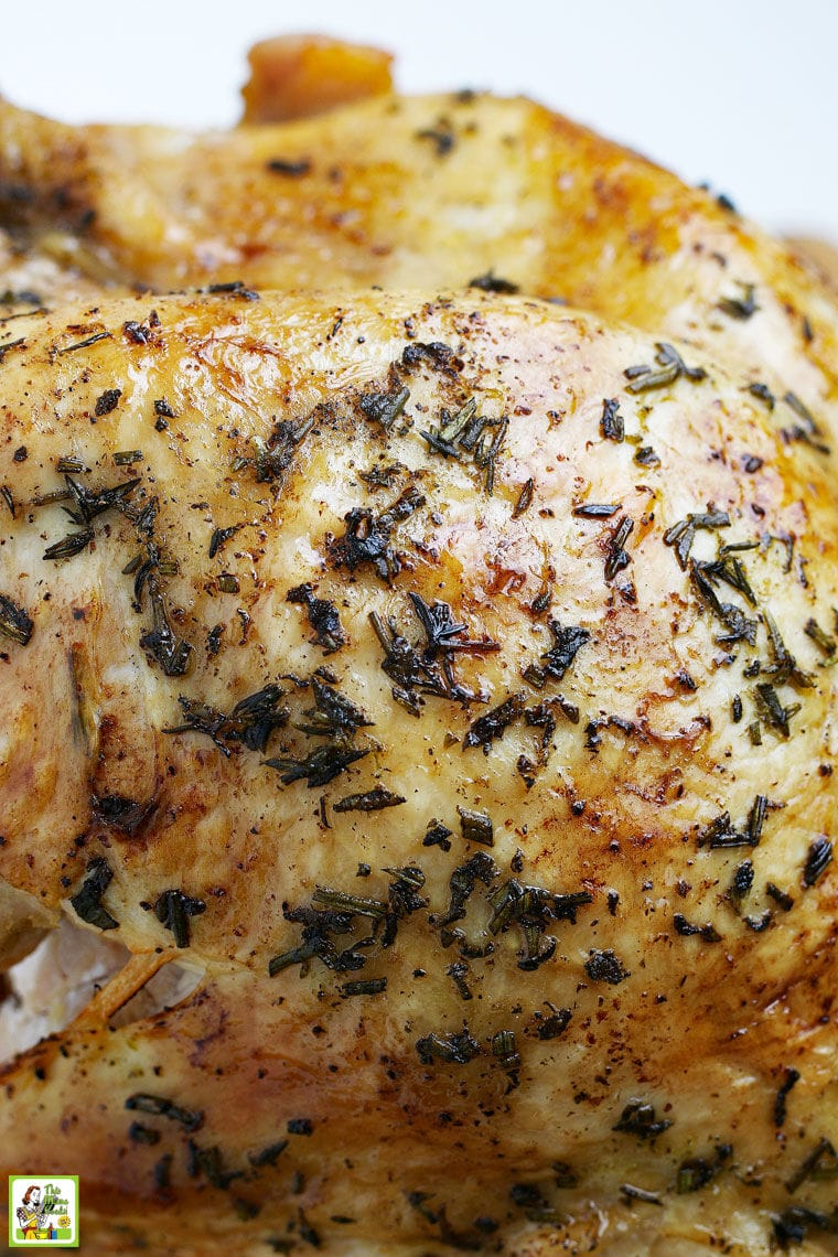 Closeup of a roasted cooked turkey breast skin.