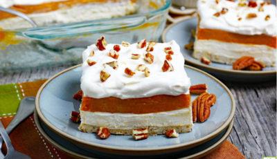 Pumpkin Cheesecake Lasagna Recipe.
