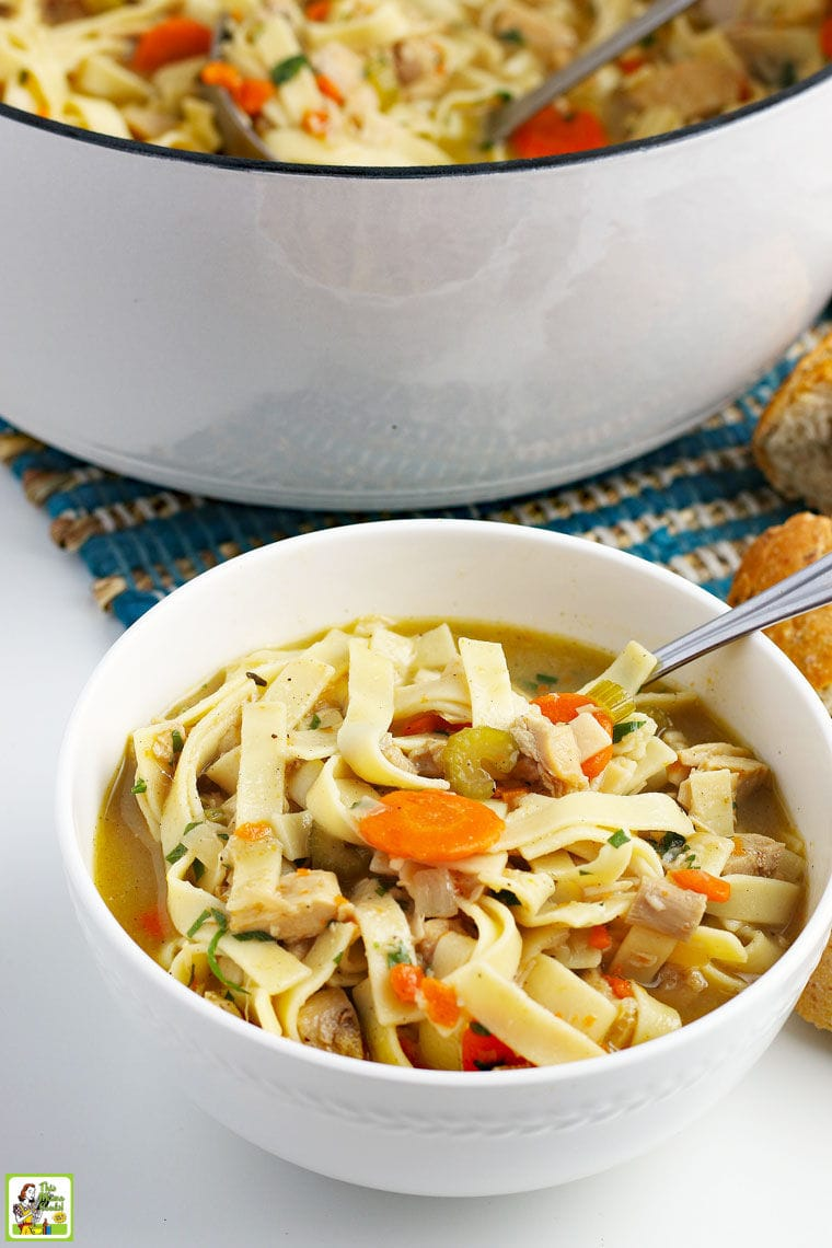 A bowl and pot of turkey soup with egg noodles, turkey, carrots, onions, and celery with a Dutch oven pot in the background.