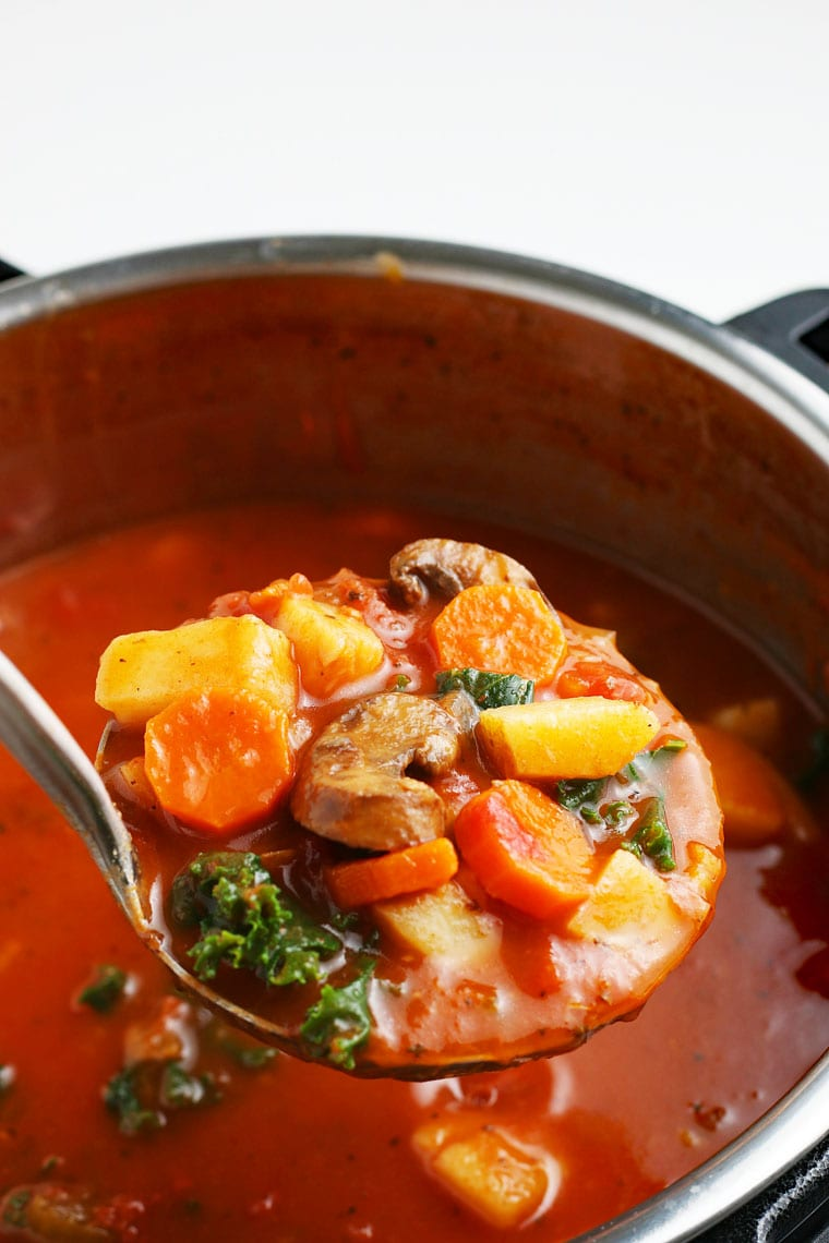 A ladle of vegetable soup in a pressure cooker.