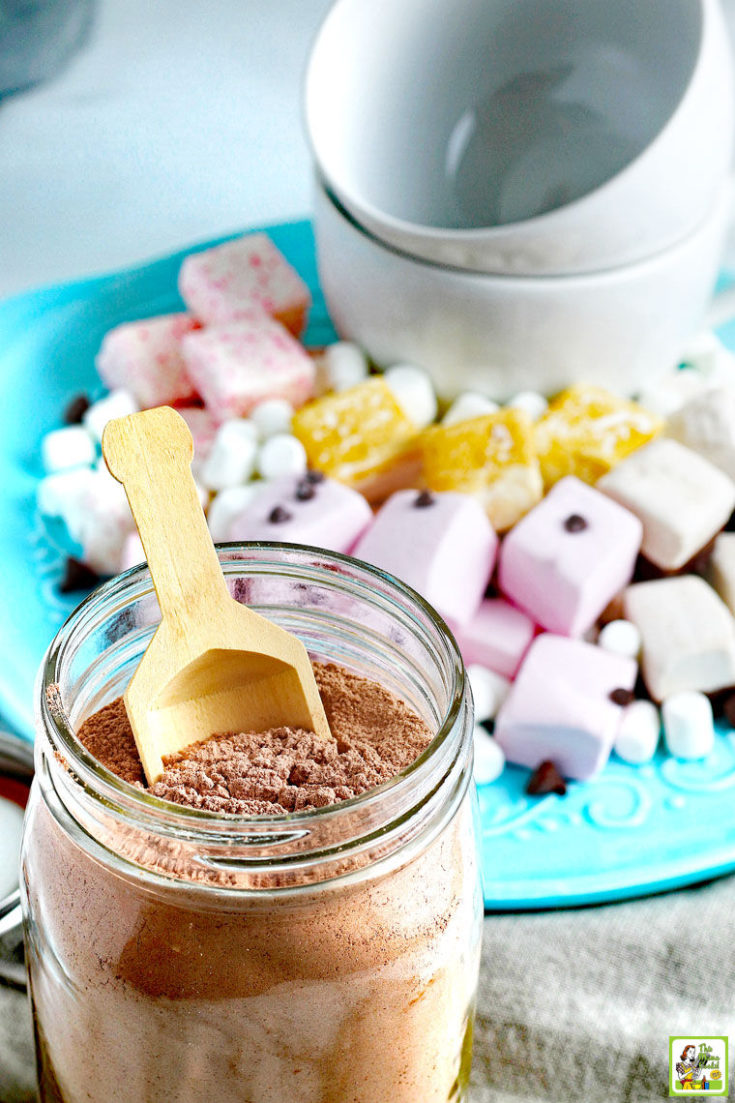 A glass jar of Homemade Hot Chocolate Mix with a wooden scoop. A blue plate of marshmallows, chocolate chips, and white mugs in the background.