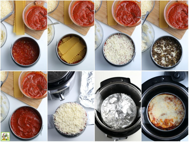 Step by step pictures showing you how to make lasagna from scratch in the instant pot.