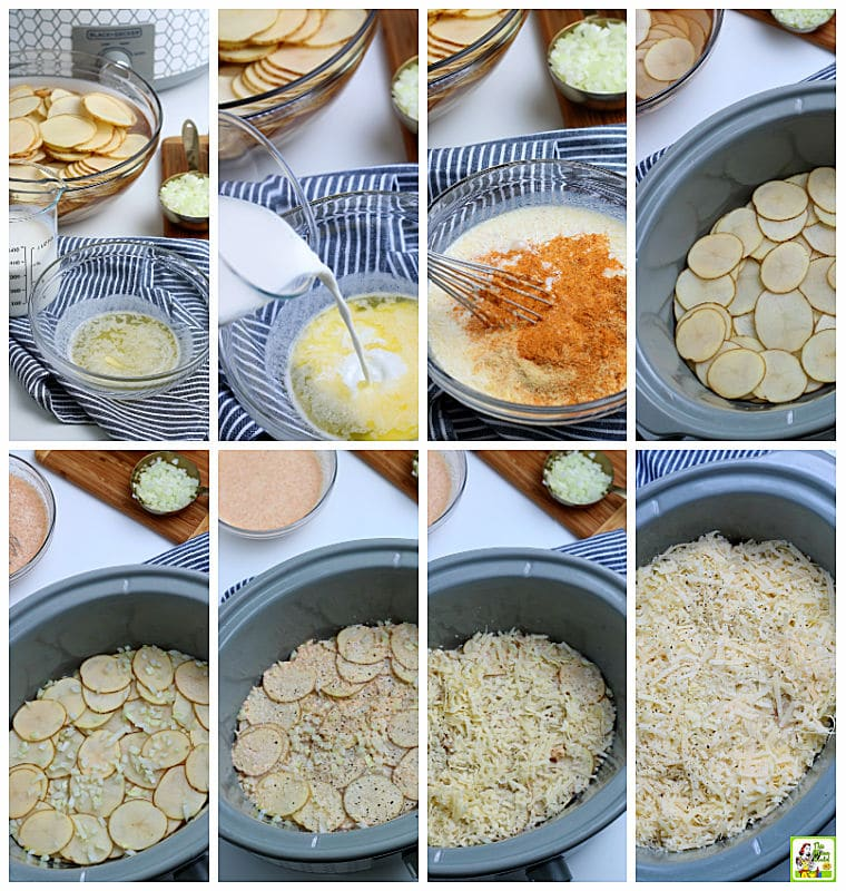 Step by step of how to make Crockpot Scalloped Potatoes recipe.