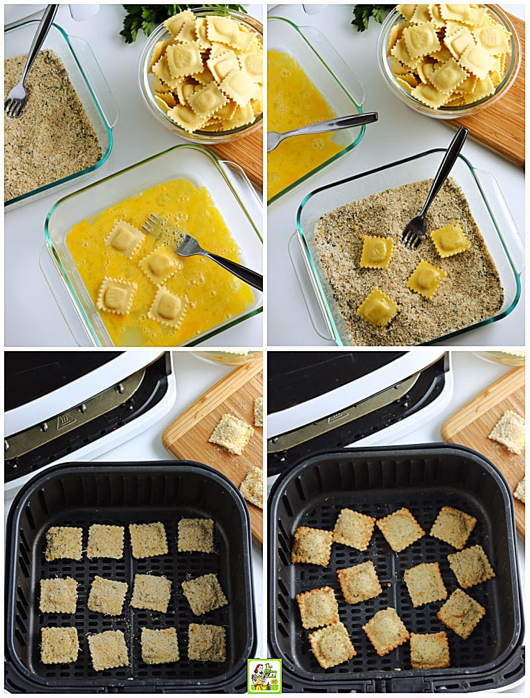 The process to make toasted air fryer ravioli in egg wash and bread crumbs.