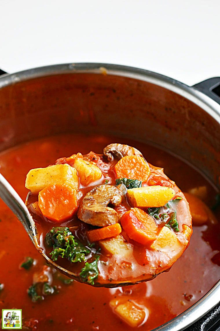 A ladel of cooked vegetables over an Instant Pot of vegetable soup.