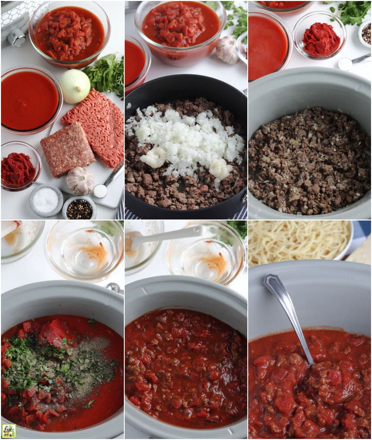 Ingredients and steps to make crockpot spaghetti sauce recipe.