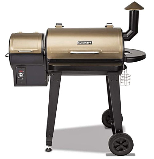 A bronze Cuisinart CPG-4000 Wood BBQ Grill & Smoker Pellet Grill and Smoker with wheels and side chimney.