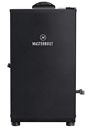 A black 30-inch Masterbuilt Digital Electric Smoker cabinet.