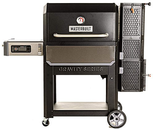 A black and silver Masterbuilt Gravity Series 1050 Digital Charcoal Grill + Smoker with rolling cart.