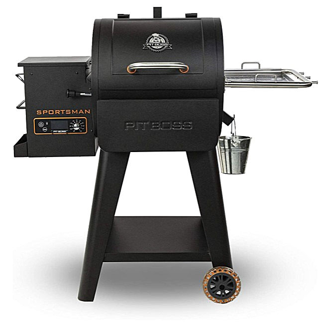 A compact PIT BOSS 500SP Wood Pellet Grill with wheels and drip bucket.